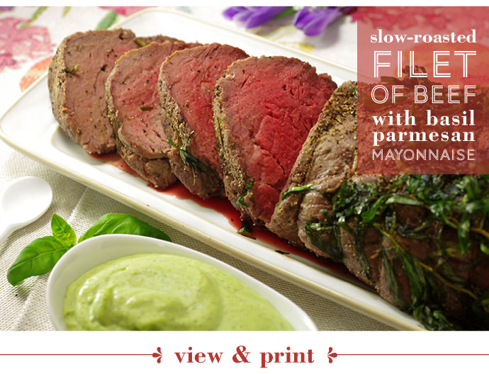 RECIPE: Slow Roasted Filet of Beef with Basil Parmesan Mayonnaise