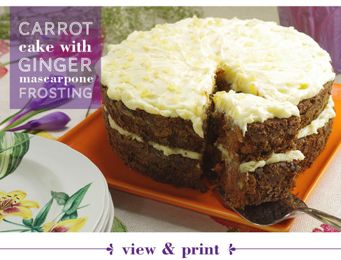 RECIPE: Carrot Cake with Ginger Marscapone Frosting