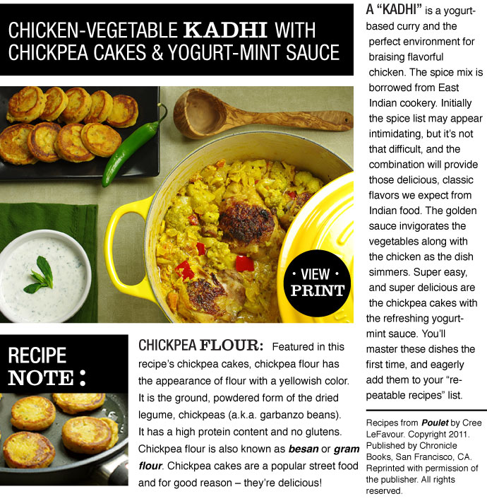 RECIPE: Chicken-Vegetable Kadhi with Chickpea Cakes and Yogurt-Mint Sauce