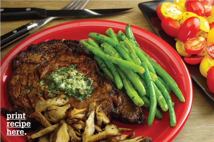 Chili-Rubbed Rib-Eye Steaks with Cilantro Butter