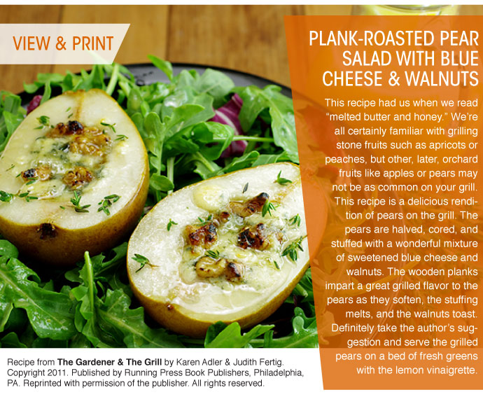 RECIPE: Plank-Roasted Pear Salad with Blue Cheese an Walnuts