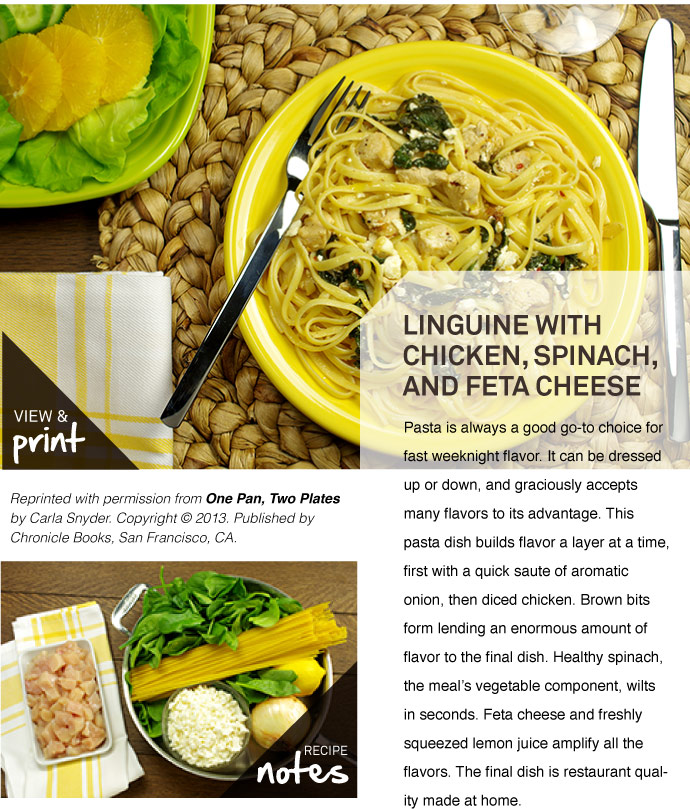 RECIPE: Linguine with Chicken, Spinach and Feta Cheese